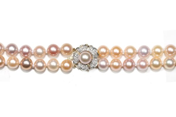 Pink Pearl Flower Necklace Clasp c2038