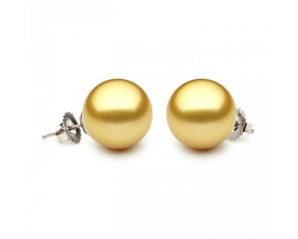 10-10.5mm Golden South Sea Pearl Stud Earrings
