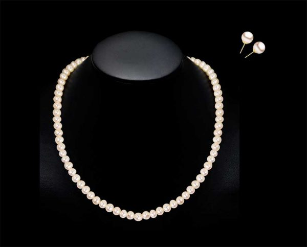 10mm Pearl Necklace and Earring Bridal Set