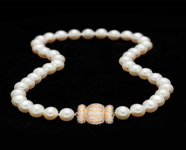 10mm Pearl Necklace with Diamond Gold Ball Clasp