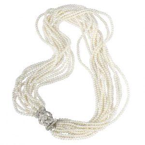 12 Strand Antique Diamond Pearl Necklace