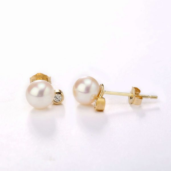 gold pearl and diamond earrings