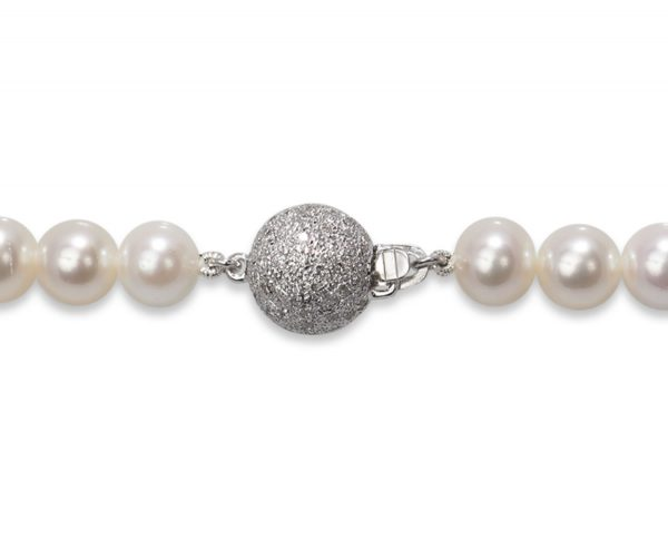.65ct 10mm Diamond Ball Pearl Necklace Clasp