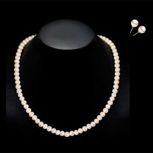 7mm Pearl Necklace and Earring Bridal Set