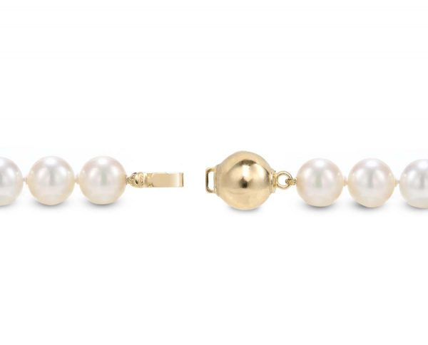 7mm Solid Golden Ball Pearl Necklace Clasp