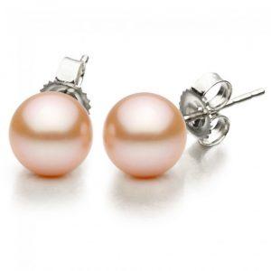 8.5-9mm Freshwater Pink Pearl Stud Earrings