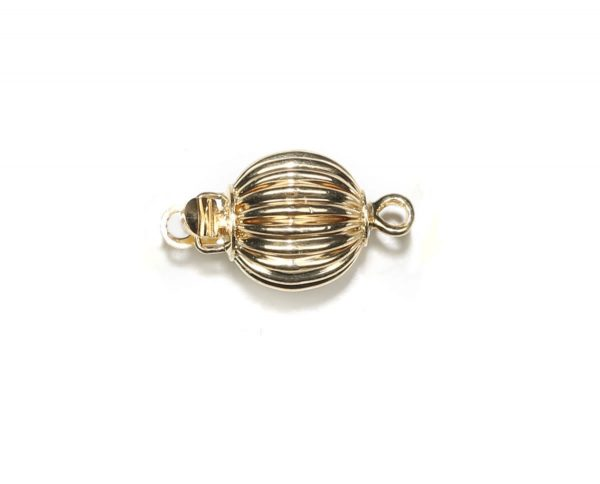 8mm Ridged Golden Ball Pearl Bracelet Clasp