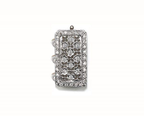 Antique Diamond Bracelet Pearl Clasp