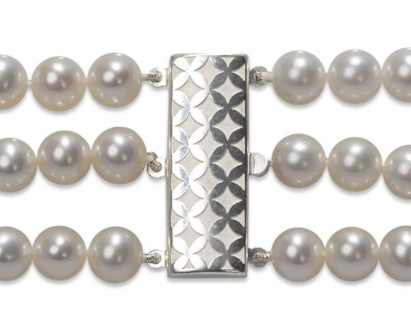 Checked Triple Strand Necklace Pearl Clasp