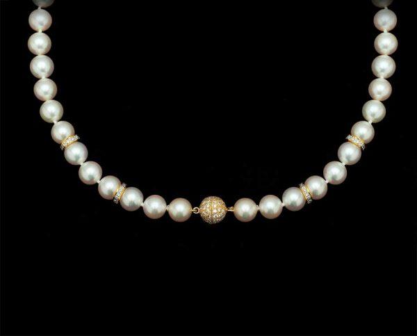 Diamond Ball Pearl Necklace