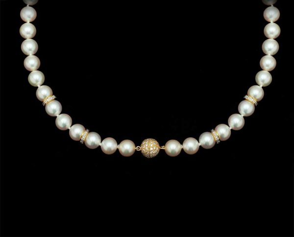 Diamond Ball Pearl Necklace, With 4 X 8mm Rondels