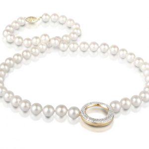 Diamond O Pearl Necklace