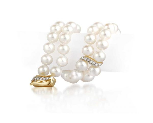 Diamond S Double Akoya Pearl Bracelet