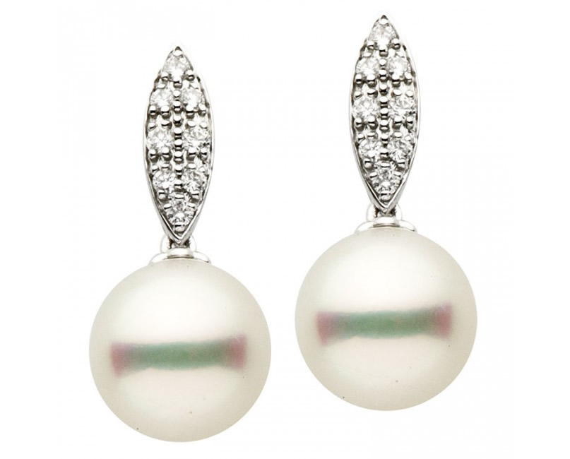 Diamond oval dangling earrings