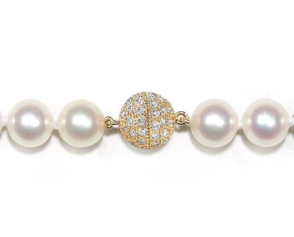 Diamond 8mm Ball Clasp for Pearl Necklace