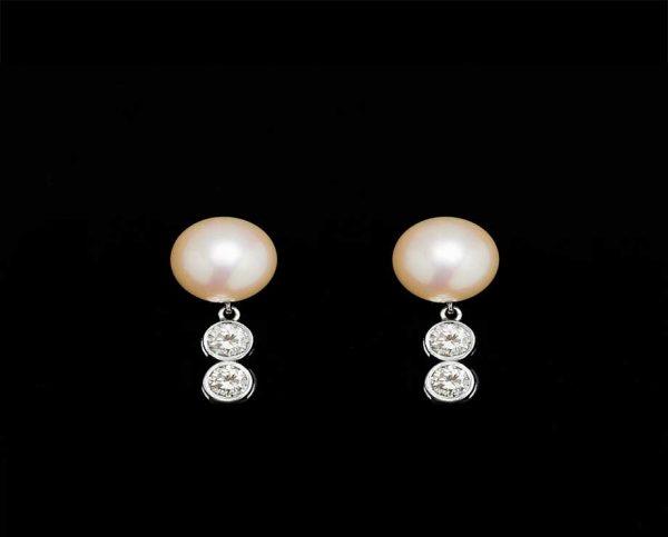 Double Diamond Pearl Earrings