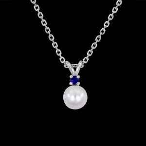 Sapphire, Gold and Pearl Pendant