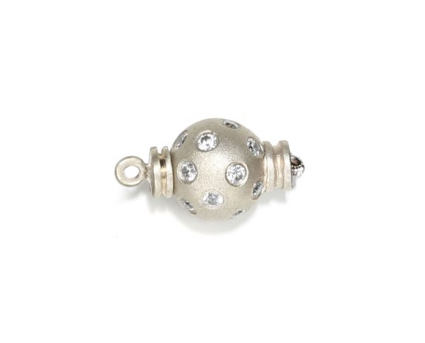 Large Diamond Set Ball Clasp for Pearl Bracelet