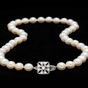 Freshwater Necklace with Little Diamond Box Clasp