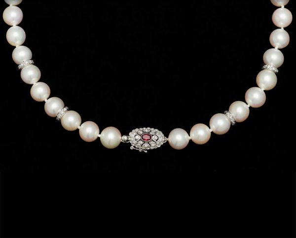 9mm Ruby Pearl Necklace, With 4 X 8mm Rondels
