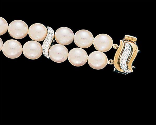 Small Diamond S Pearl Bracelet