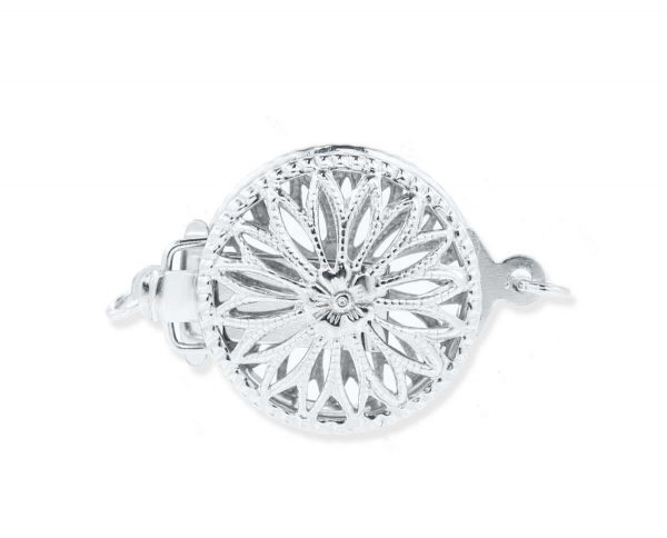 Sterling Silver Flower Clasp for Pearl Bracelet