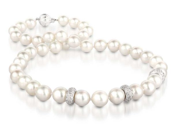 White Diamond Shine Pearl Necklace