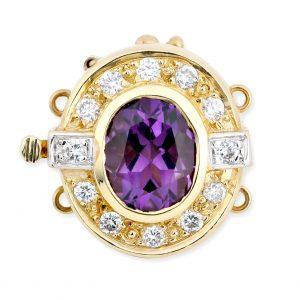 Amethyst and Diamond Bracelet Pearl Clasp