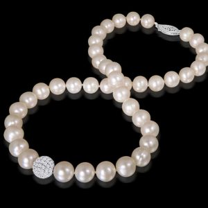 Cubic Zirconium Bead Pearl Necklace