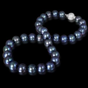 Black Freshwater Pearls with Random Set Ball Clasp