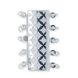 Checked 5 Strand Bracelet Pearl Clasp