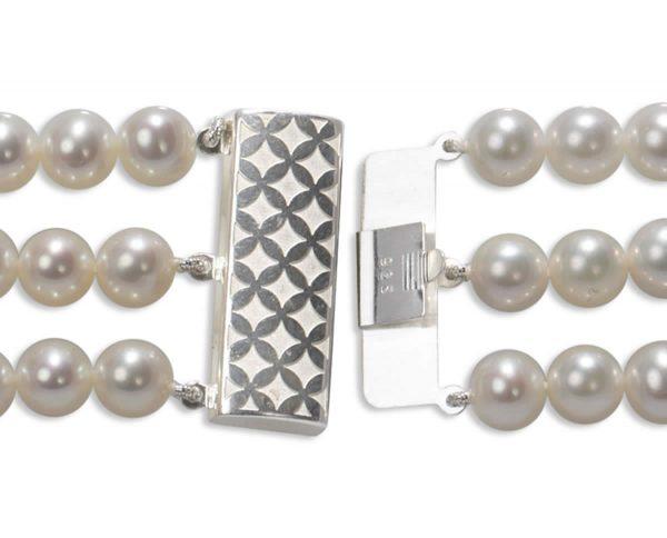 Checked Triple Strand Bracelet Pearl Clasp