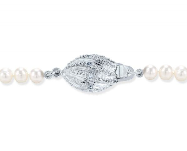 Diamond Football Clasp for Pearl Necklace