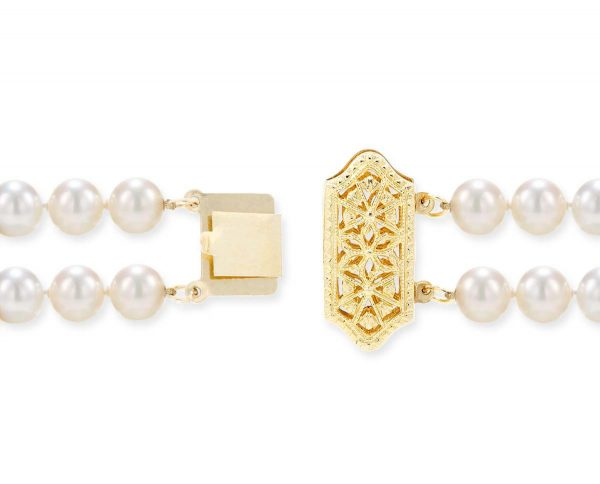 Double Strand Necklace Filigree Pearl Clasp