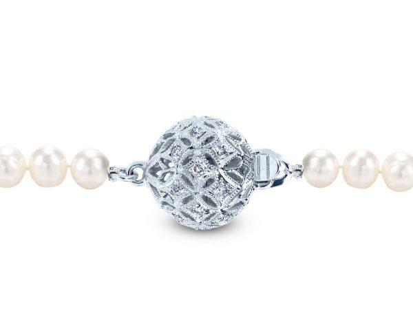 Large Filigree Diamond Ball Clasp for Bracelet