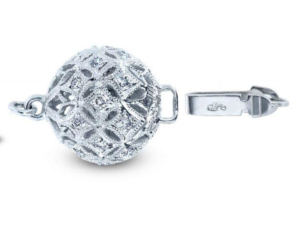 Medium Filigree Diamond Ball Clasp