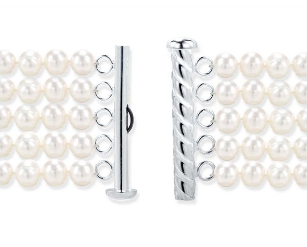 Five Row Pearl Bracelet Strand Silver Rod Clasp