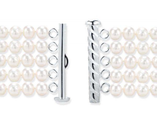 Five Pearl Strand Silver Spiral Rod Clasp