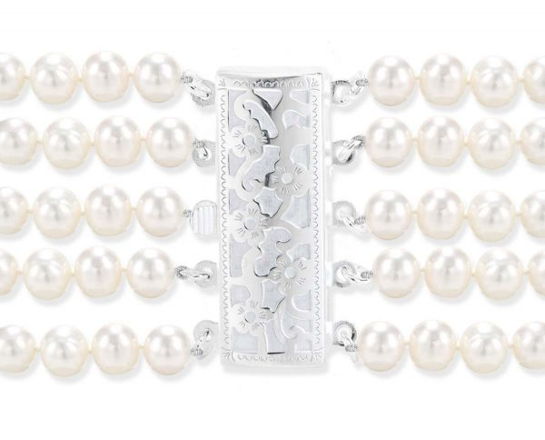 Flower 5 Strand Pearl Clasp