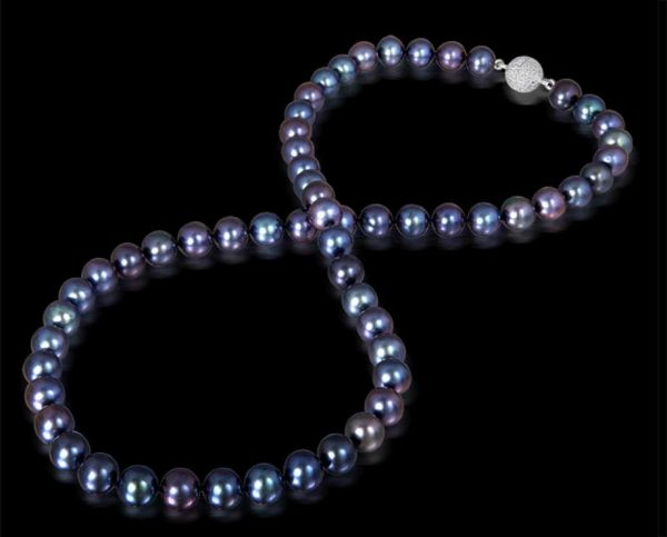 Black Freshwater Pearls with Silver Ball Clasp