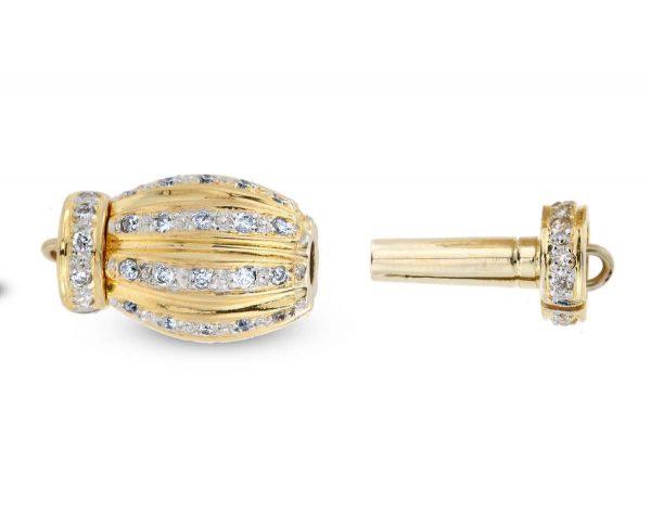 Pearl Bracelet Gold and Diamond Barrel Clasp