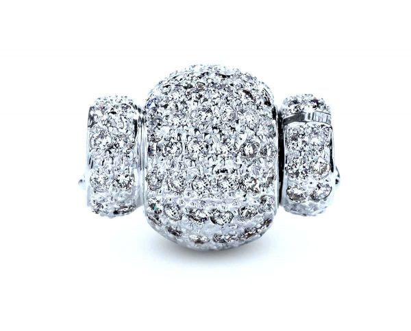 Large Diamond Rondel Ball Pearl Necklace Clasp