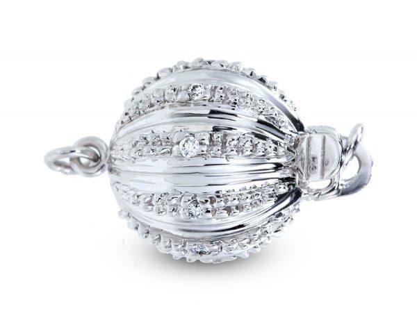 Large Lightweight Diamond Ball Clasp for Bracelet