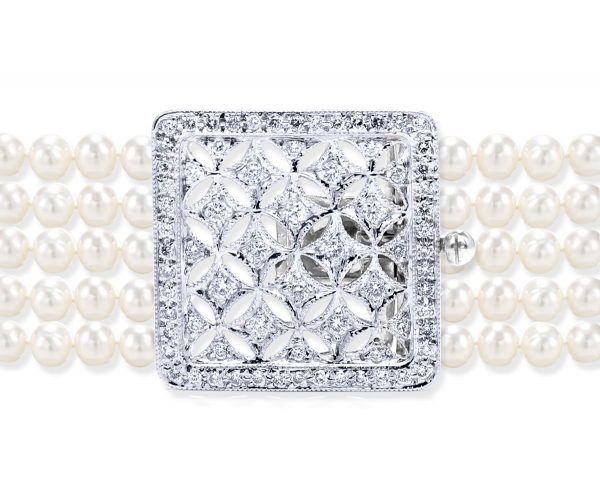 Large Multiple Diamonds Clasp for Pearl Necklace