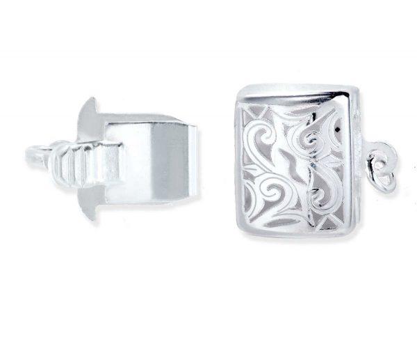 Long Box Swirl Silver Bracelet Clasp