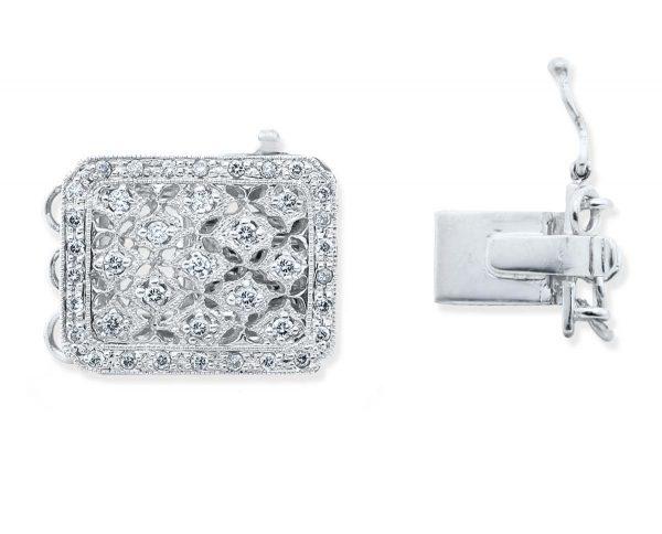 Multiple Diamonds Clasp for Pearl Bracelet