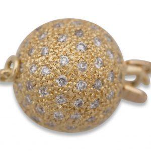 Pearl Bracelet 15 mm Diamond Ball Clasp