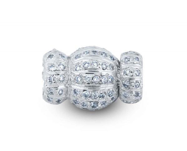 Diamond Striped Medium Ball Bracelet Clasp