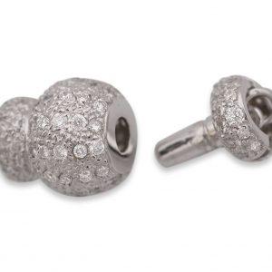 Pearl Bracelet Large Diamond Rondel Ball Clasp