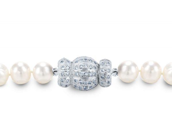 Pearl Necklace Diamond Striped Medium Ball Clasp